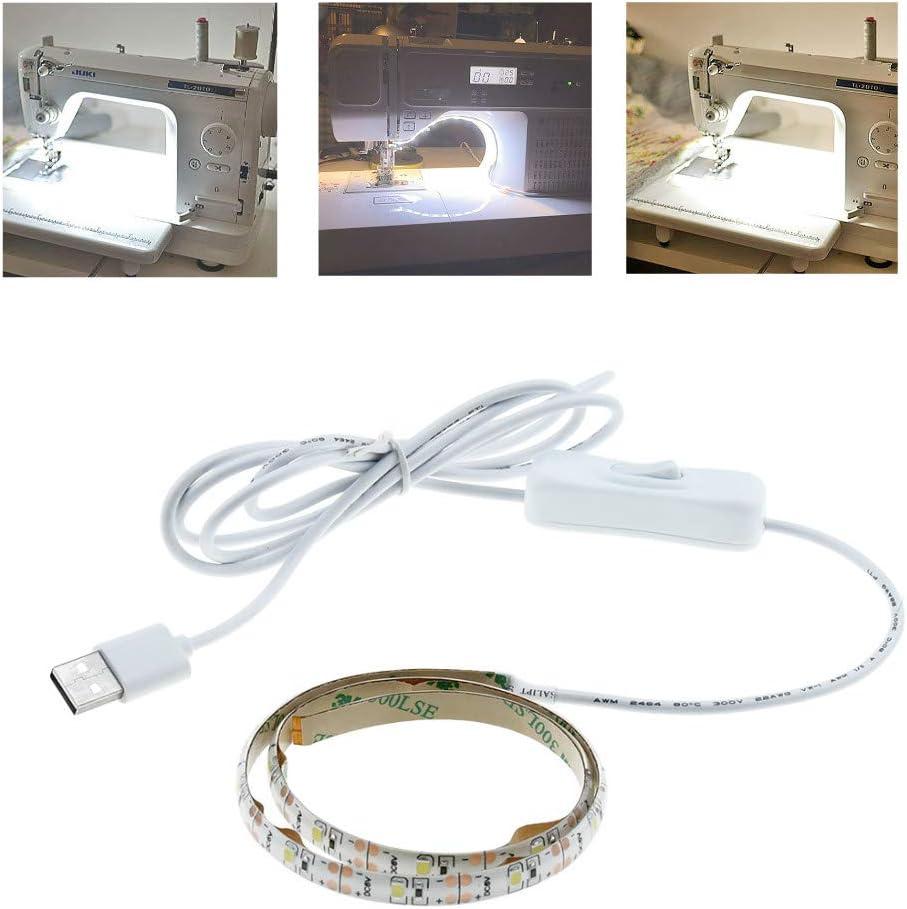 Luxvista LED Luz Tira de Máquina de Coser, 5V Kit de Iluminación LED Tiras de Costura con interruptor, 60cm Longitud Ajustable, Adhesivo Fuerte, Fuente de Alimentación USB, Blanco Frío