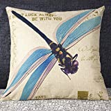 Weksi®Animal Style Retro Cotton Linen Square Fabric Throw Pillow Covers 18x18 Blue Dragonfly Cushion Cover Used for Decorative Pillow for Bed Couch and Sofa Pillow Covers
