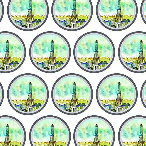 Premium Gift Wrap Wrapping Paper Roll Places and Things - Watercolor Paris Eiffel Tower - Water Place Tower