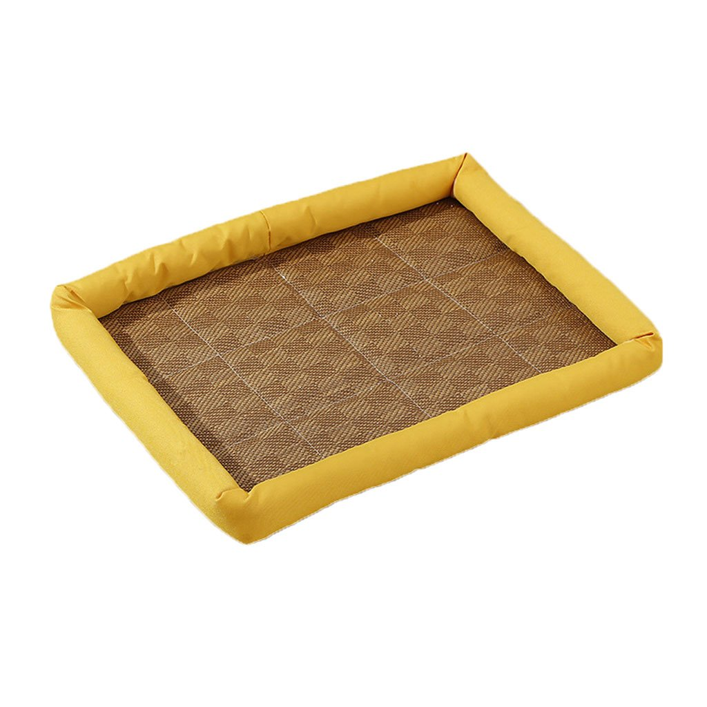 Pet Bed Non-Woven Cotton Pad Waterproof Non-Slip Four Seasons Universal Soft Comfortable Cool Breathable Pet Bed (color   Yellow, Size   M)