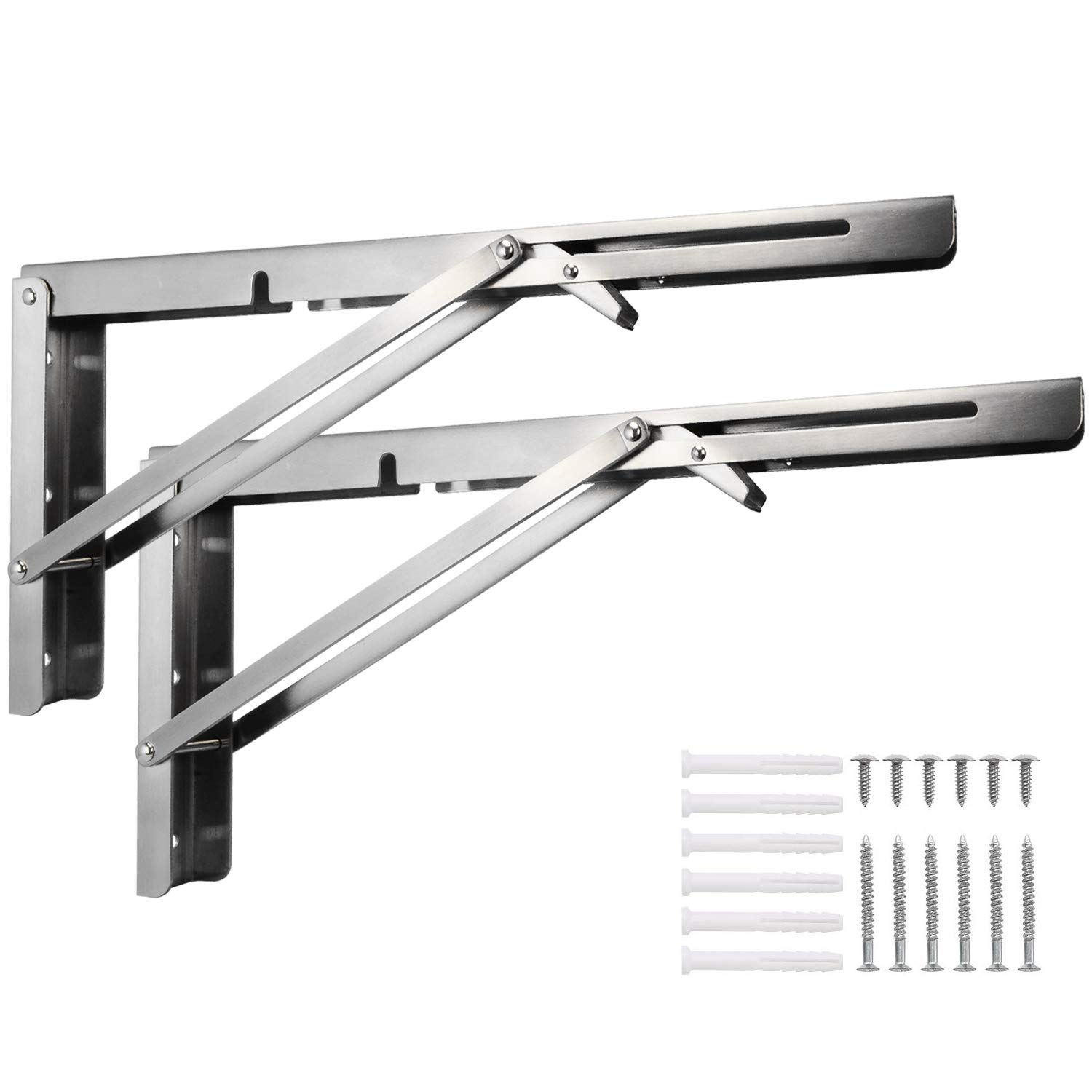 Douper Collapsible Shelf Brackets Folding Supports 16inch Long Arm Heavy Duty Stainless Steel Construction in Brush Finish Max Load 400lbs Sold in Pairs