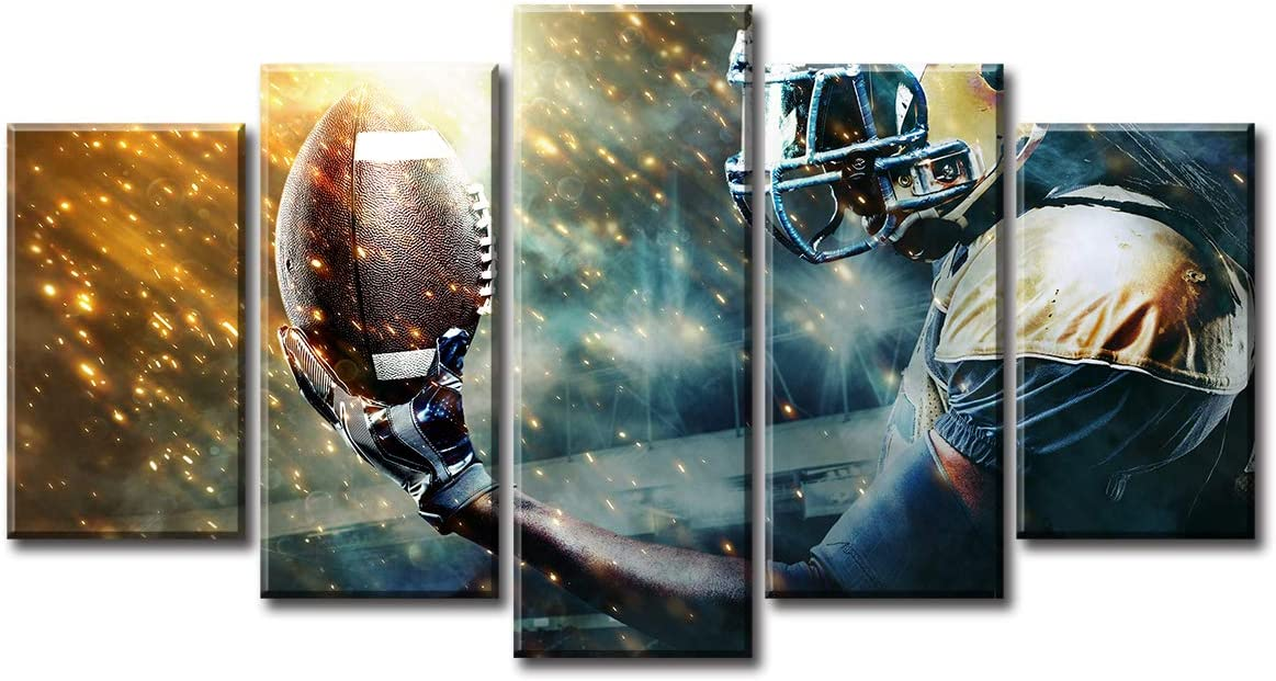 DJSYLIFE Football Art Pictures for Wall Sports Room Decor Canvas Prints Artwork Poster