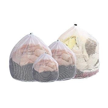4 Piezas Bolsa Lavadora Saco Lavadora,Bolsa de Lavado con Cordón para Ropa Interior & Ropa Delicada, bolsa blusa, medias, medias, ropa interior, ...