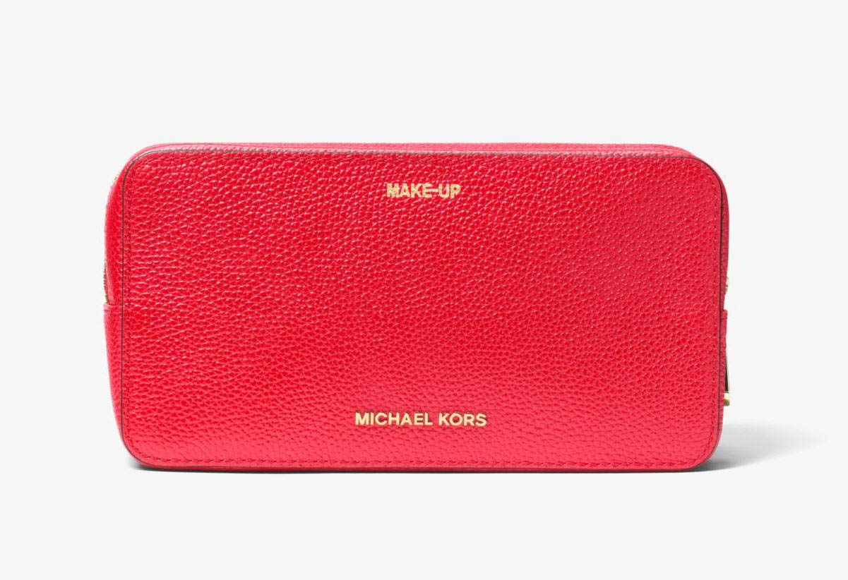 Michael Kors Mercer Large Double Zip Leather Cosmetic Travel Pouch - Dark Sangria