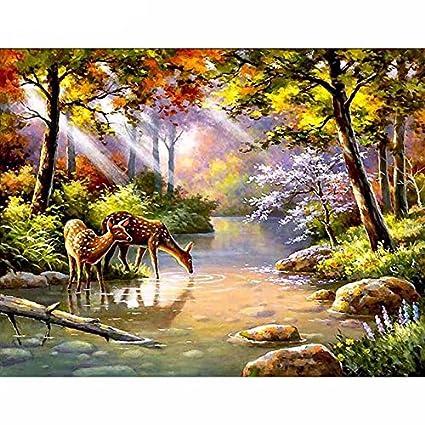 Supply Full Square 5d Diy Diamond Embroidery Forest Lake Landscape Diamond Painting Cross Stitch Rhinestone Mosaic Decoration Diamond Painting Cross Stitch
