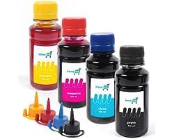 Kit 4 Refil Tinta Compatível com L120 L200 L210 L220 L355 L365 L375 L380 L395 400ml Cores