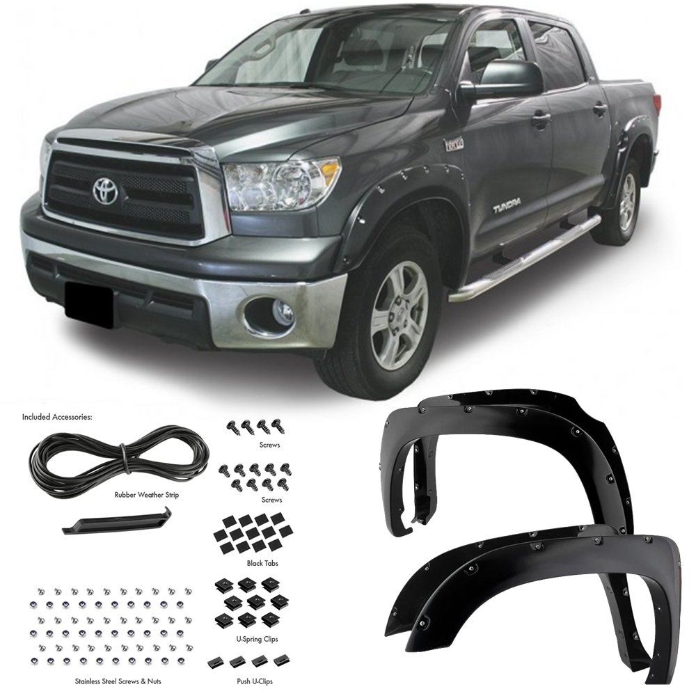Super Drive For 2014-2016 Toyota Tundra Pocket Riveted Fender Flares Bolt On 4 Pieces Set Black Textured/Smooth Finish (Matte Black) P62S1061