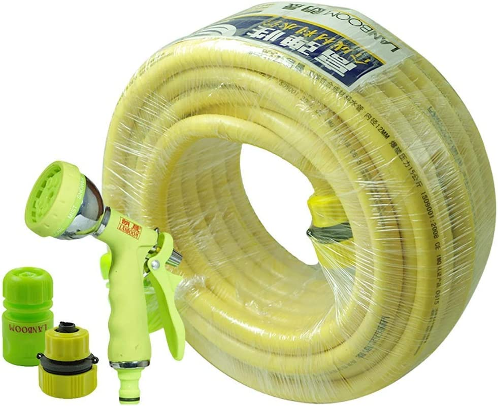 NSYNSY Garden Hose PVC Pipe Diameter 12.5mm Yellow Sunscreen Antifreeze 15/30M Water Pipe Set (Size : 30M(98FT))