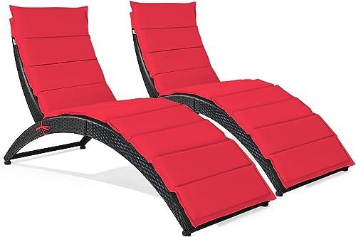 Tangkula Foldable Patio Lounge Chair