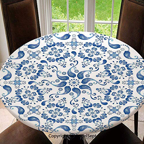 (Polyester Fabric Elastic Edged Tablecloth,Eastern Ottoman Mosaic Ceramic Style Artsy Round Shape with Birds Baroque Image Soil Resistant Holiday Tablecloth, 47 Inch Round,Blue White)
