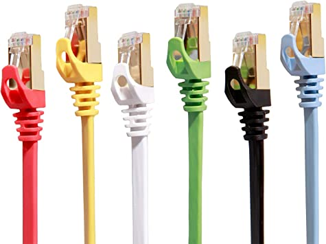 Amazon Com Cat 7 Ethernet Cable 10 Ft 6 Pack Highest Speed Cable Cat7 Flat Shielded Ethernet Patch Cables Internet Cable For Modem Router Lan Computer Compatible With Cat 5e Cat 6 Network Electronics