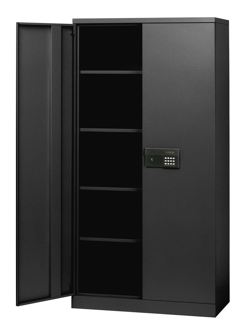 Sandusky Lee KDE7236-09 Black Steel SnapIt Storage Cabinet, Keyless Electronic Lock, 4 Adjustable Shelves, 72'' Height x 36'' Width x 18'' Depth