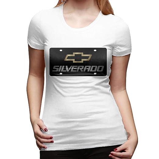 5512c7dcb238c Amazon.com  Chevrolet Silverado Logo Women s T-Shirt Short Sleeved Tee  Casual Tops  Clothing