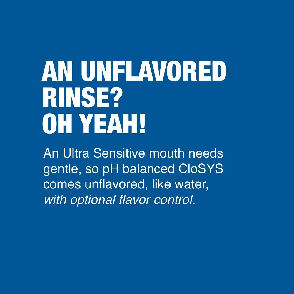 CloSYS Ultra Sensitive Mouthwash, 16 oz Pack of 12 , Unflavored Optional Flavor Dropper Included , Alcohol Free, pH Balanced, Helps Soothe Sensitivity, Kills Germs that Cause Bad Breath