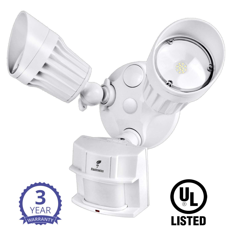 IP65 Waterproof Outdoor Flood Light Dust to Dawn 20W 5000K 150Watt 2 Adjustable Heads UL Listed Fluxtronics LED Security Light with Motion Sensor Daylight