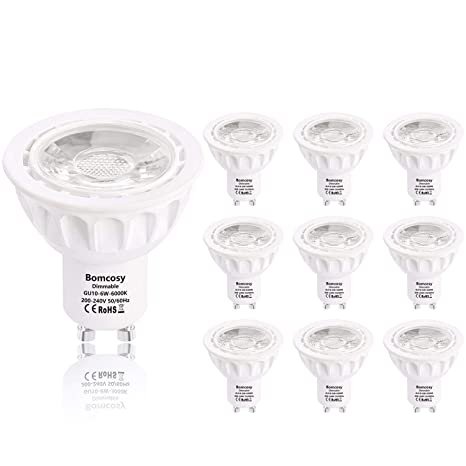 Bomcosy Regulable GU10 Bombillas LED 6W Blanca Frio 6000K Equivalente a 50 W Halógeno 540LM 35 Degree ángulo AC 220-240V Pack de 10