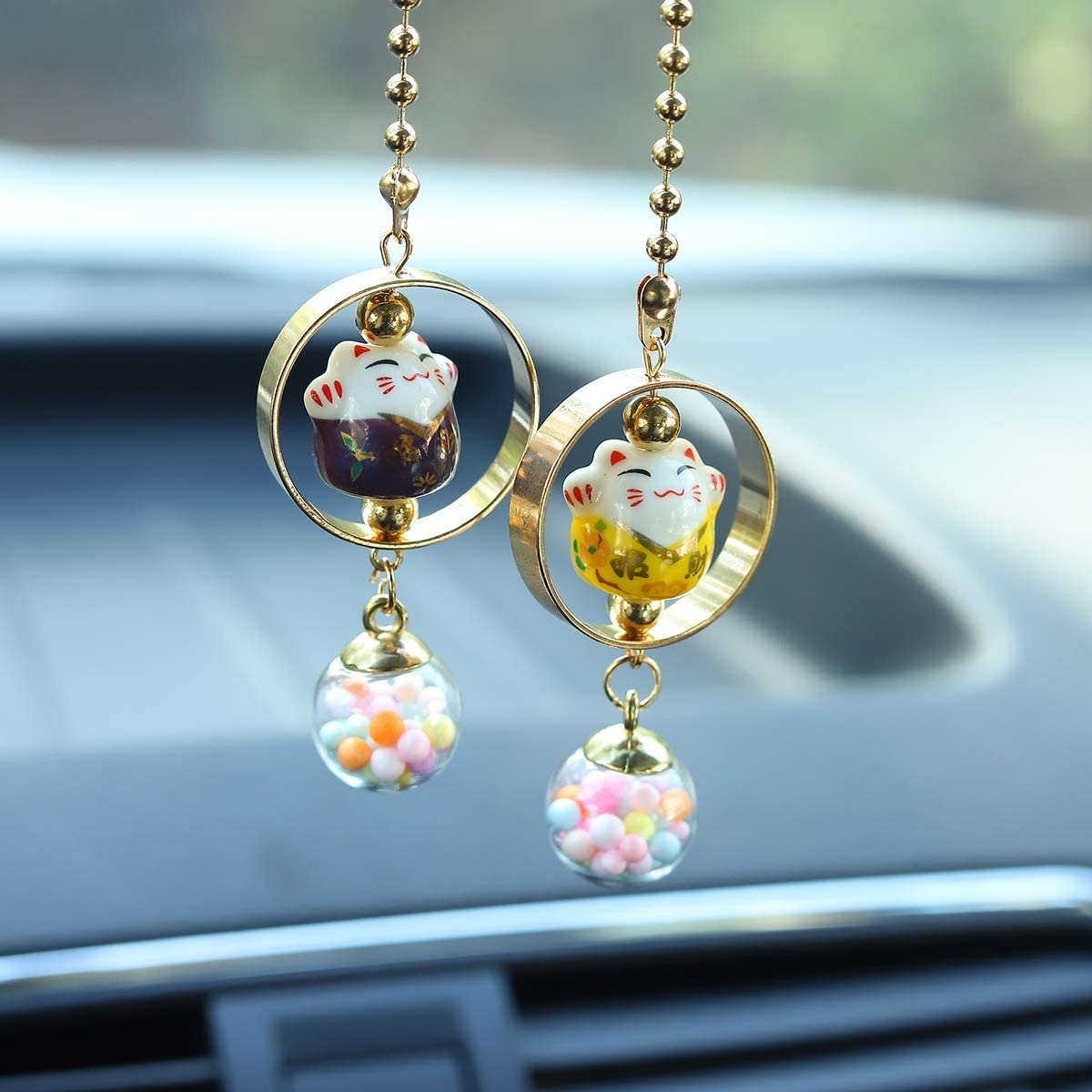 Blue /& Pink EYEZU Bling Car Pendant Lucky Cat Car Charms for Rear View Mirror Chinese Ceramic Car Charm Ornaments Cute Cat Car or Home Decorations Car Interior Accessories