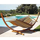 LazyDaze Hammocks 12Feet Wood Arc Hammock Stand and 100% Cotton Fabric Spreader Bar Hammock Combo