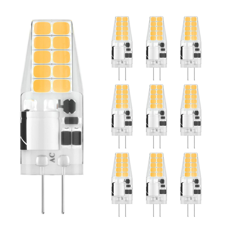 Non-Dimmable G4 Bulbs for Home Lighting 300LM 12V 10-Pack 30W Halogen Equivalent 6000K-6500K Daylight White DiCUNO G4 LED Light Bulbs 3W