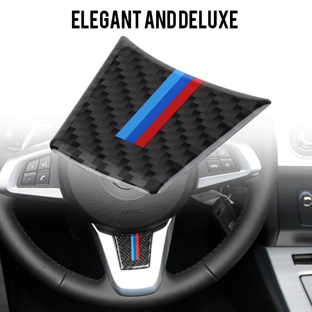 1# Carbon Fiber Steering Wheel Panel Cover Car Inner Steering Wheel Frame Trim Decoration Sticker Decal