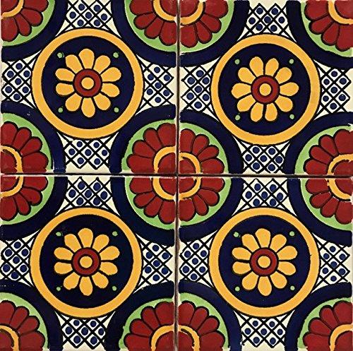 Amazon.com: 2 x 2 de Talavera azulejos rojo Multicolor ...