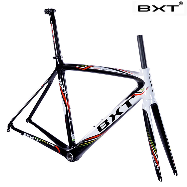 BXT 2019 New BXT T800 Carbon Road Bike Frame Cycling Bicycle frameset Super Light 980g Di2/mechanical Racing Carbon Road Frame (BXT Logo, 500mm)