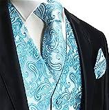 Brand Q Men's 3pc Paisley Vest Set-Turquoise-M
