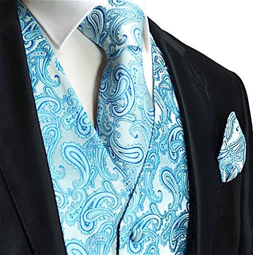 Brand Q Men's 3pc Paisley Vest Set-Turquoise-M (Vest 5 Button Tuxedo)