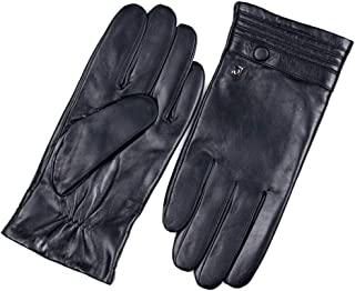 Men's Fashion Leather Gloves Winter Warm Business Gloves Plus Velvet Cold Quality Men's Locomotive Leather Gloves (Size : S)