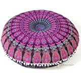 "EYES OF INDIA - 32"" Purple Mandala Large Floor Pillow Meditation Cushion Seating Throw Cover Hippie Decorative Bohemian Boho Indian Pouf Ottoman"