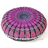 """indian room decor Eyes of India - 32"""" Purple Pink Mandala Large Floor Pillow Cover Meditation Cushion Seating Throw Hippie Round Colorful Decorative Bohemian Boho Dog Bed Indian Pouf Ottoman Cover ONLY"""