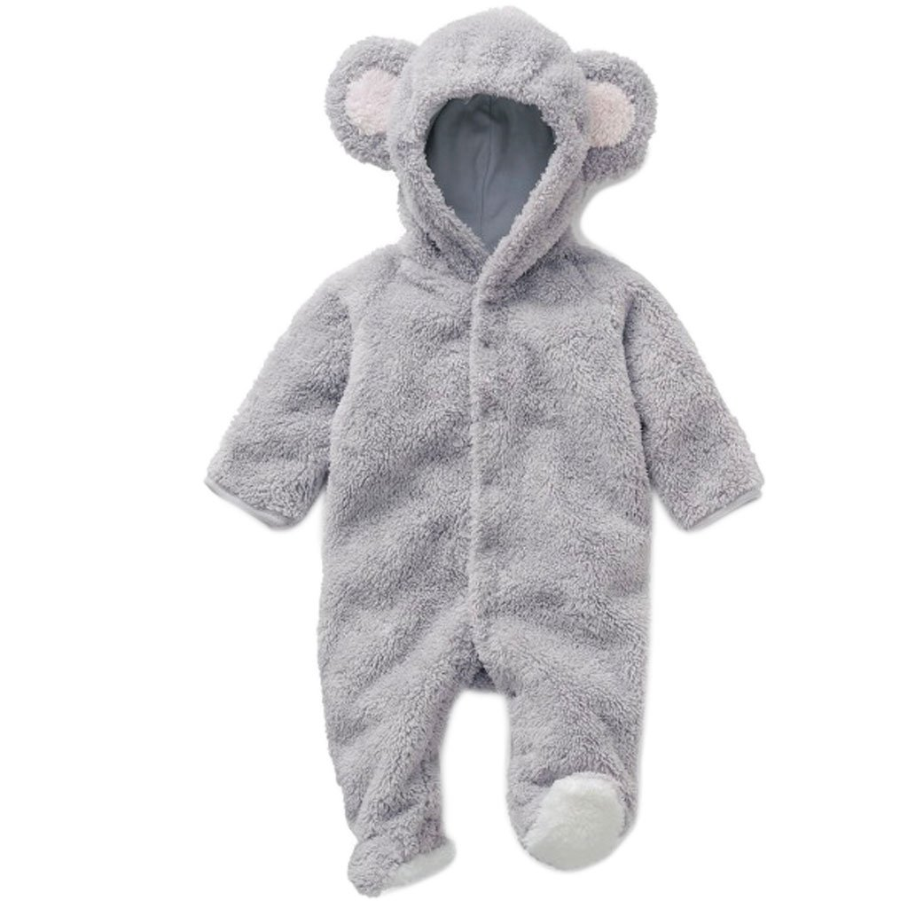 Redriver Cute Baby Romper, Flannel Cartoon Bear Ear Jumpsuit