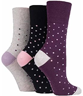 Size 4-8 6 Pairs Ladies Black Charcoal Stripe Spotted Cotton Gentle Grip Socks