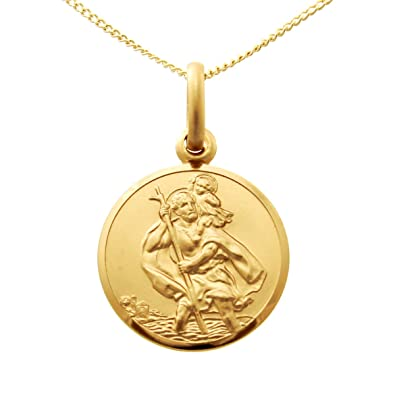 9ct Rolled Gold Large St Christopher Pendant Necklace with 18