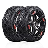Rupse Tire Chain of Car,SUV Emergency Mud Snow Tire Anti-Skid Security Chains Set of 2 A12 (905-A12)