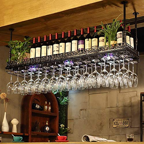 SED Household Wine Shelf Cup Holder- Adjustable Height Ceiling Mounted Hanging Wine Bottle Holder Metal Iron Wine Glass Rack Goblet Stemware Racks Vintage Style Decoration Application- Available Home