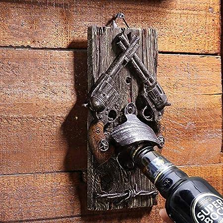 JIN GUI Abrebotellas Retro de Vaquero, abrebotellas de Pistola Cruzada Tapices de Pared Decoración Sistema de Doble Bloqueo Fundición de Resina, para Bar Family Hotel Hunting Lodge