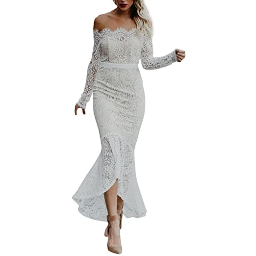 d92e1374692 Women s Off Shoulder Floral Lace Long Sleeve High Low Mermaid Bodycon  Cocktail Party Wedding Maxi Dresses