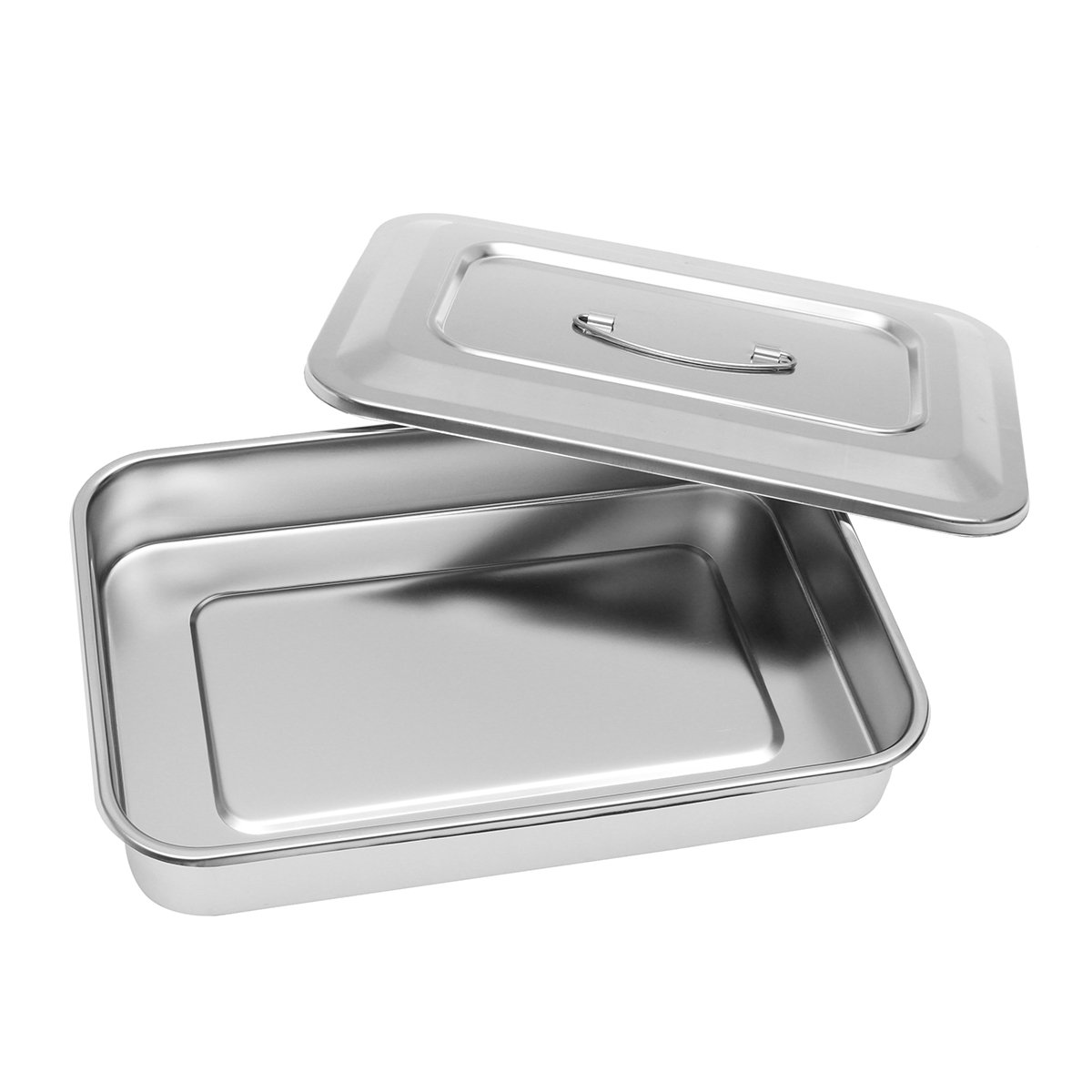 Stainless Steel Instrument Tray Organizer Holder with Lid & Handle Grip 12''x8''x2''