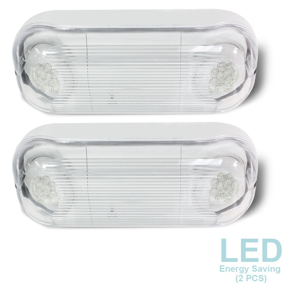 eTopLighting [2 PCS] LED Hardwired Outdoor/Indoor Emergency Light, Wet Damp Listed, Energy Saving LED Beads & Durable Body Material, Minimal Maintenance, AGG2282