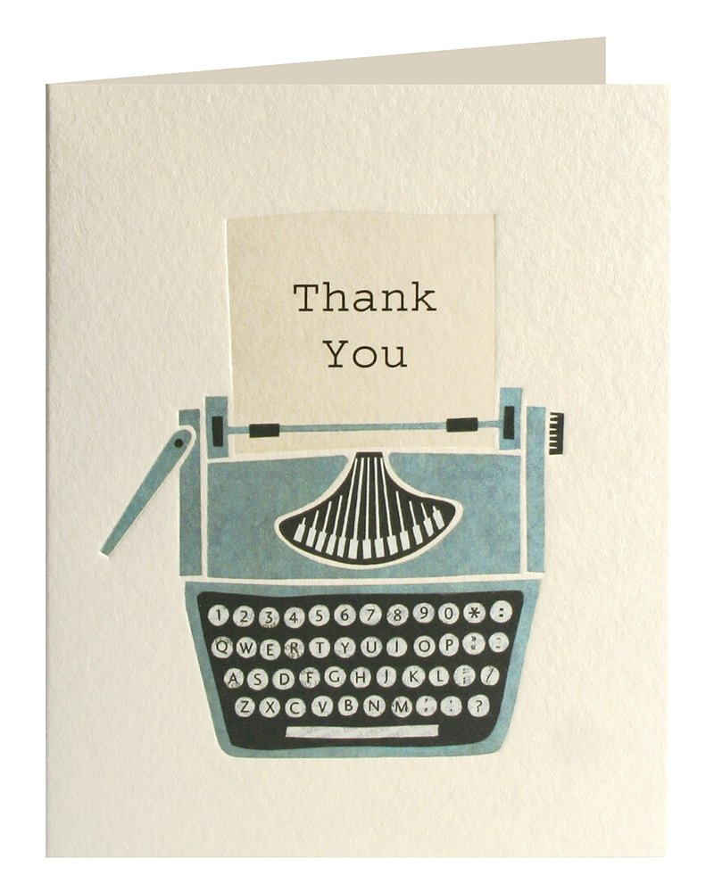 confezione da 5 bigliettini decorati con scritta in lingua ingleseTypewriter Thank You James Ellis Mini Stationery