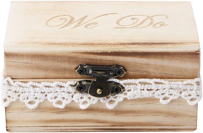 Youlin - Caja para anillos de madera, 10 x 6 x 5 cm, para anillos de boda: Amazon.es: Hogar