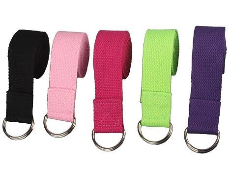 Correa de estiramiento para yoga con anillo D de Westeng; 1 unidad, correa para cintura y pierna, hecha de algodón, color al azar