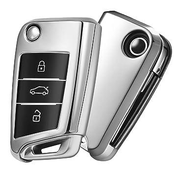 OATSBASF Funda para Llave VW, Funda Llave VW Golf 7-3 Botones para Coche VW MK7 Seat Skoda Carcasa de Llaves TPU (Plata)