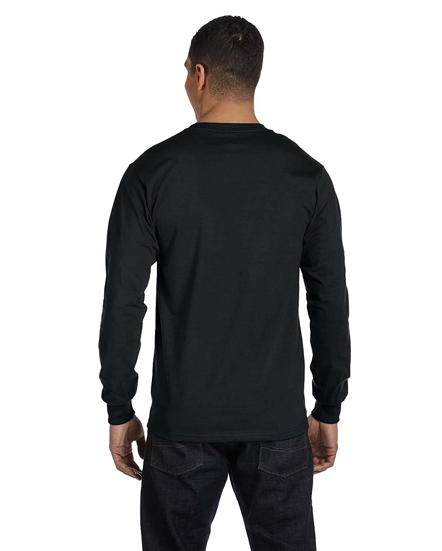 Hanes Mens 52 Oz ComfortSoft Cotton Long-Sleeve T-Shirt Black L - Style # 5286 - Original Label