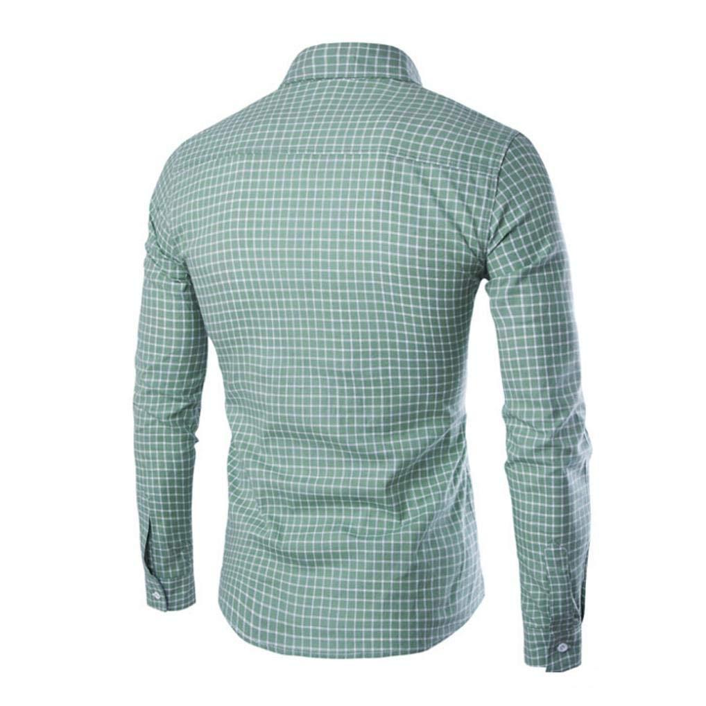 Yvelands Camisa de Manga Larga Hombre Casual Moda Informal Casual Clásico Estampado escocés Botón de Manga Larga Camiseta Delgada Top Blusa Camisas de ...