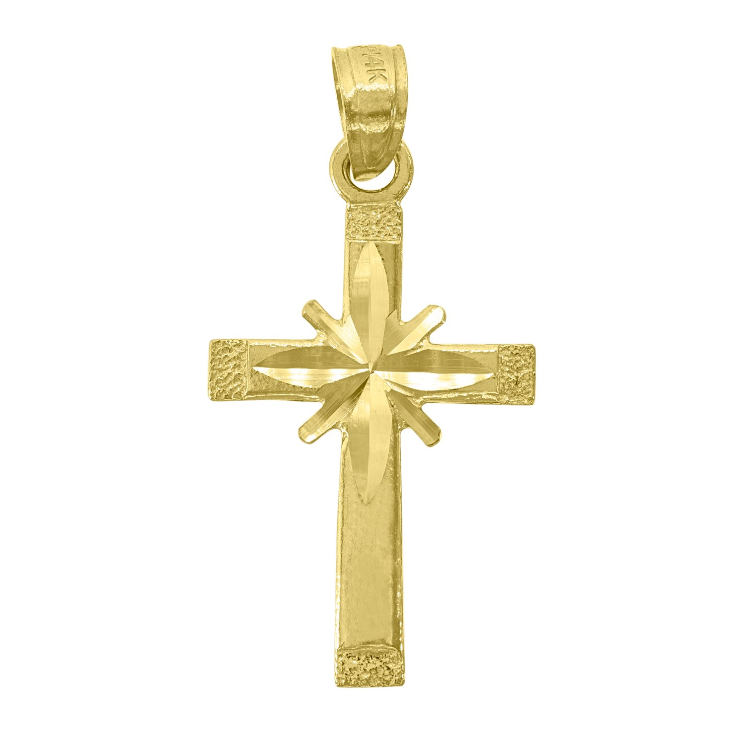 14kt Yellow Gold Unisex Diamond-Cut Cross Height with bail: 25.5mm 13.1mm x 25.4mm Religious Pendant Charm