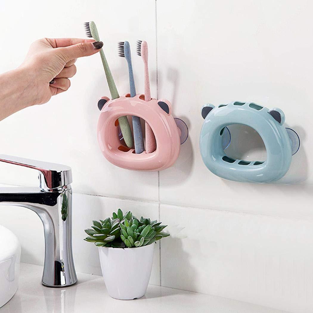 PioleUK Soporte de cepillo de dientes montado en la pared Forma de oso Ventosa Soporte de almacenamiento del cepillo de dientes Juegos de muebles