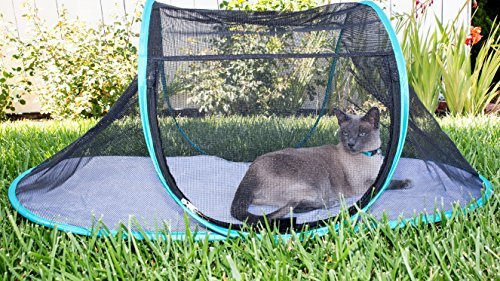 "Nala and Company - The Cat House Outdoor Pet Enclosure for Indoor Cats - 43"" x 23"" x 18"" - Portable, View, Pop Up Lounger Tent for Deck, Patio, Porch, Yard, Balcony & RV Travel - with Storage Pouch"