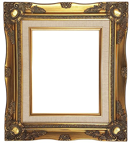 Ornate Baroque Gold Painted Wooden Frame with Cream Canvas Liner Shabby Chic Picture Frame (5x7 Frame (Cream Canvas)